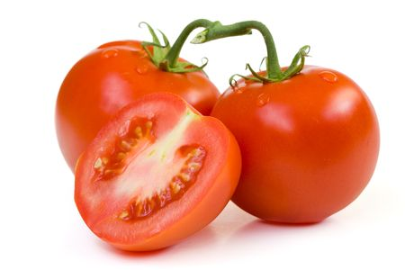 Ripe red tomatoes on a white background  Stock Photo - 5615229