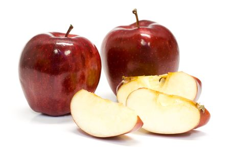 Fresh snack apple on isolated white background