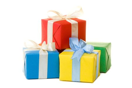 gift packs: Multi color gift boxes with ribbon isolated on white background