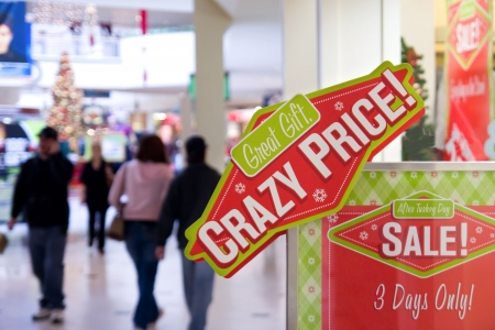malls: Crazy price sign board decoration at shopping mall Stock Photo