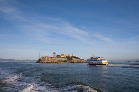 Alcatraz island viewed from the San Francisco bay area Stock Photo - 6544024