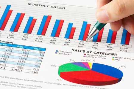 calculations: Annual sales report Stock Photo
