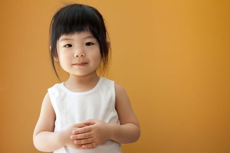 Portrait of a little Asian baby child girl Stock Photo