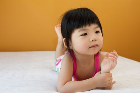 childishness: Portrait of a little Asian baby child girl Stock Photo