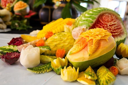 An assortment of fresh carved mix fruits