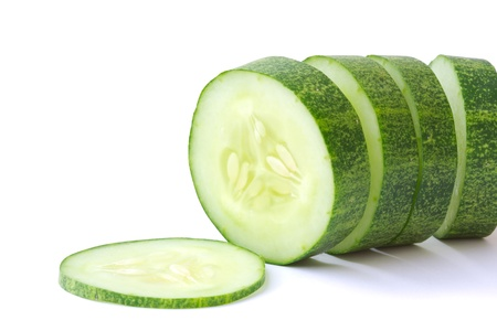 green cucumber isolated on white background  photo