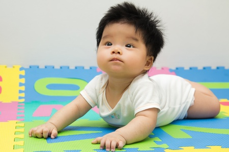 Portrait of a little Asian baby girl crawling on floor Stock Photo - 9954541
