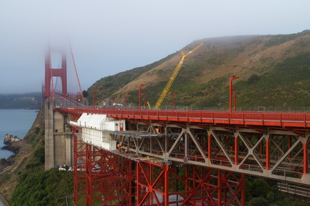 san francisco golden gate bridge: View of famous San Francisco Golden Gate bridge during cloudy day Stock Photo