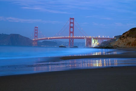 nightscene: View of famous San Francisco Golden Gate bridge from baker beach Stock Photo