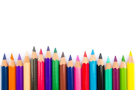 Spectrum of color pencils on white background Stock Photo - 12418633