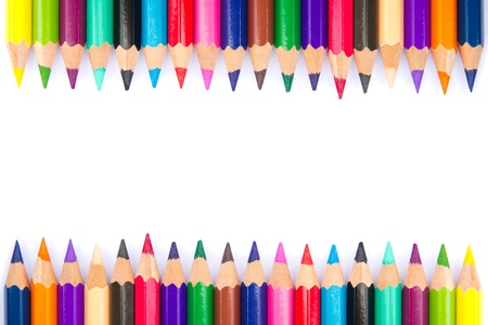 Spectrum of color pencils on white background photo