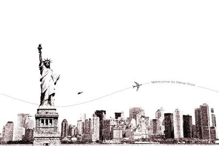 the center of the city: Boceto de la Estatua de la Libertad y la ciudad de Nueva York, el turismo conceptual