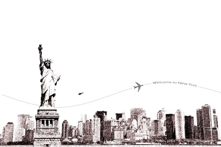 manhattan skyline: Sketch of Statue of Liberty and New York city, tourism conceptual