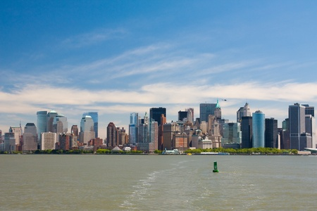 Downtown Manhattan city skyline viewed from tour boat