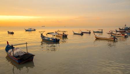 crepuscle: Sunset at the fisherman village on the Pantai Bersih, Penang Malaysia