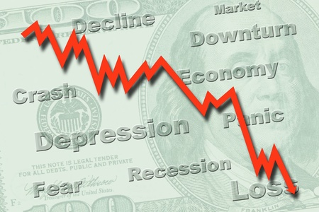 downturn: Downtrend graph on a US hundred dollar note, indicating economy recession Stock Photo