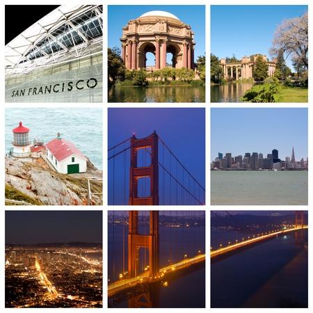 サンフランシスコ市のランドマークと観光地のコラージュ