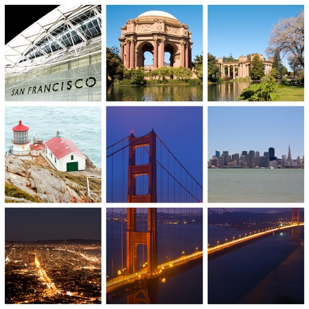 San Francisco city landmarks and tourist destinations collage Фото со стока - 12941895