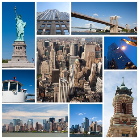 New York city landmarks and tourist destinations collage photo