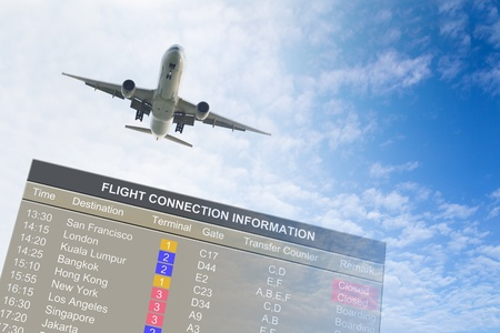 Airplane flying over an information board against blue cloudy sky