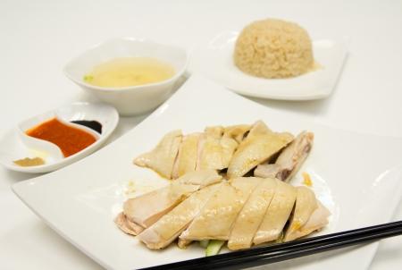 Famosa comida de estilo asi�tico, Hainan, el pollo del arroz photo