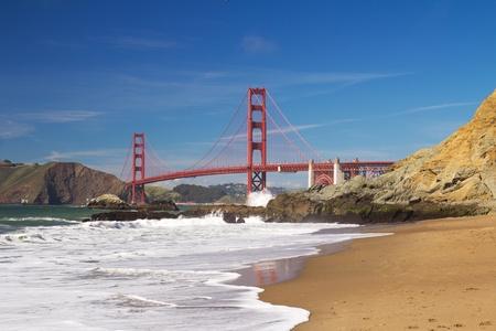 View of famous San Francisco Golden Gate bridge from baker beach Stock Photo - 13387525