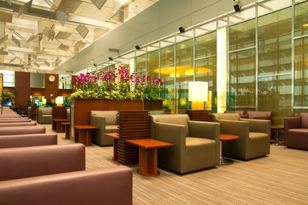 lounge chairs: Picture of modern interior airport lounge