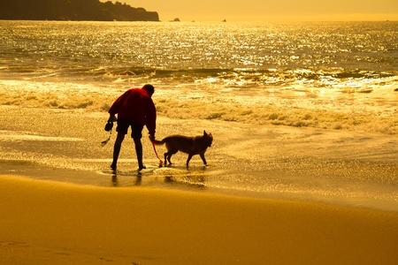 Silhouet van een man met hond spelen op het strand