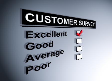 고객 서비스 설문 조사 양식에 새겨진 우수한 경험 확인란