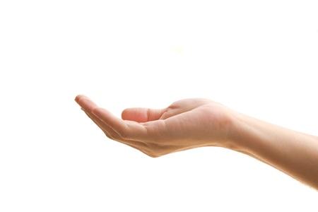 manos abiertas: Mano abierta con la palma hacia arriba sobre fondo blanco