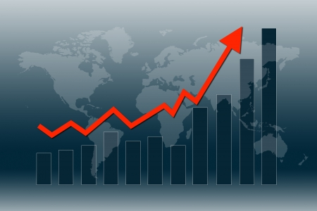 Graph and chart show world economy in recovery mode