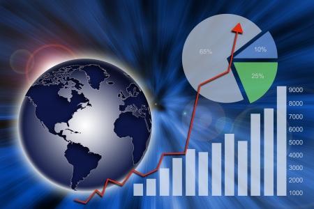 추상 금융 차트, 그래프 및 세계 경제