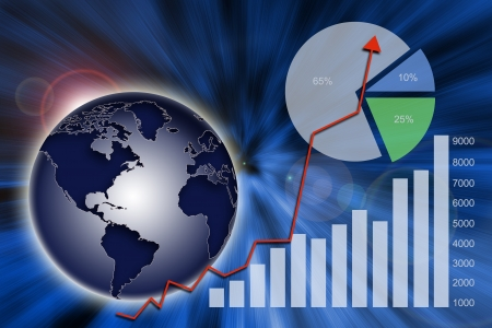 Abstract financial chart, graph and global economy photo