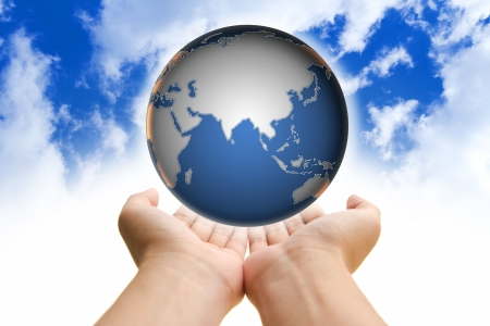 environmental awareness: Two hands holding a globe, save our planet conceptual