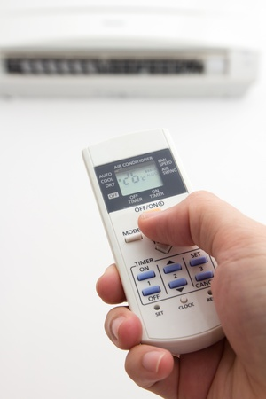 conditions: Setting air conditioner temperature to 26 degree Celsius Stock Photo