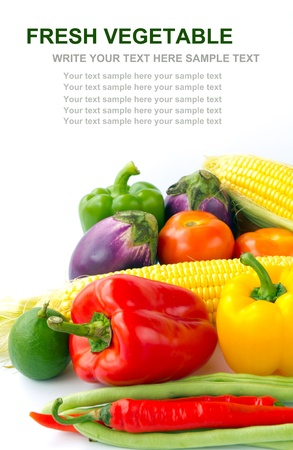 Fresh mixed vegetables isolated on white background with empty space for text