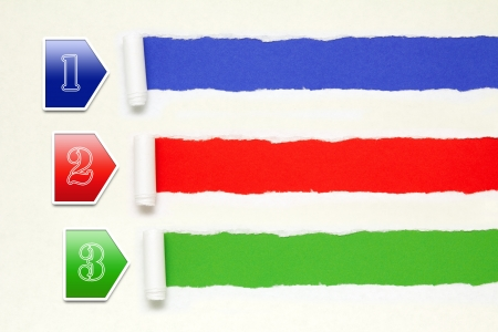 2 3: Colorful paper banners background with white torn paper edge Stock Photo