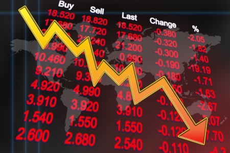 Stocks price in downtrend mode indicates global economy enter recession Stock Photo