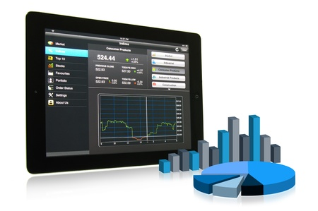economies: Touch pad showing financial data with 3D chart and graph