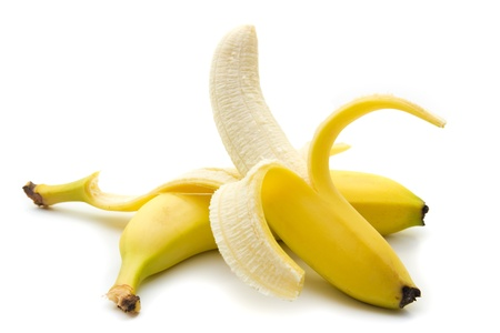 Banana isolated on white with clipping path photo