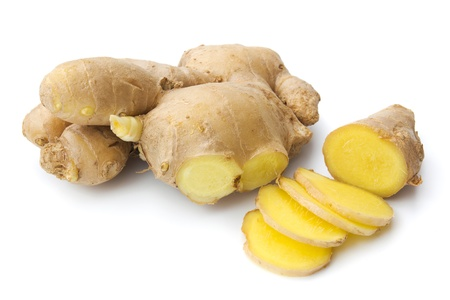 gingery: Ginger with a few slices isolated on white background
