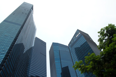 corporate buildings: Highrise corporate buildings in perspective with sky Stock Photo