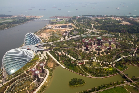 Gardens by the bay singapore uitzicht vanaf de top van Marina Bay Hotel Skypark