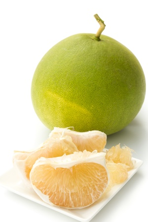 pomelo: Closeup of pomelo isolated on white background