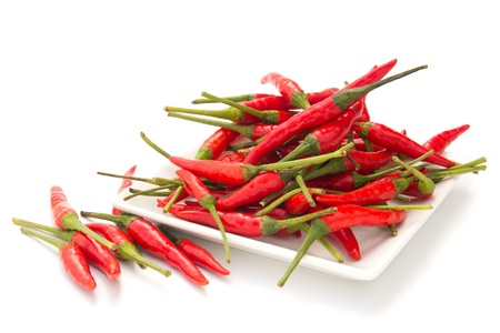 capsaicin: Red chilli in a square plate isolated on white background