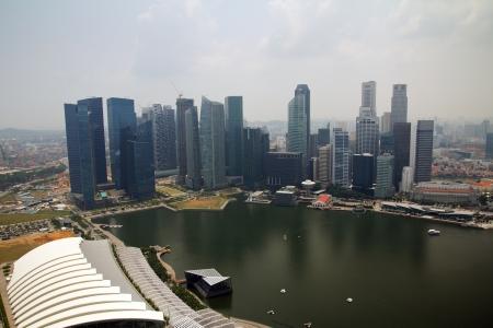 marina bay: Singapore cityline view from Marina bay skypark Stock Photo