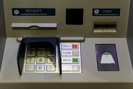 bancomat: Close up of ATM or cash machine with keypad Stock Photo