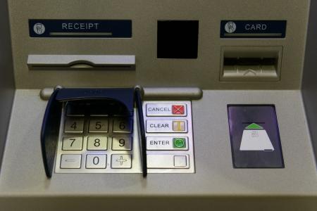 bancomat: Close up of ATM or cash machine with keypad Stock Photo