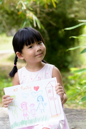 asian art: Little child shows drawing of her family member