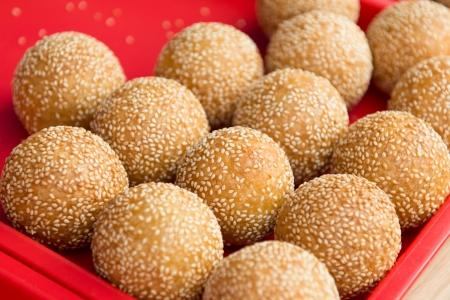 Sesame ball is China delicious food, wrap bean paste in glutinous Reklamní fotografie